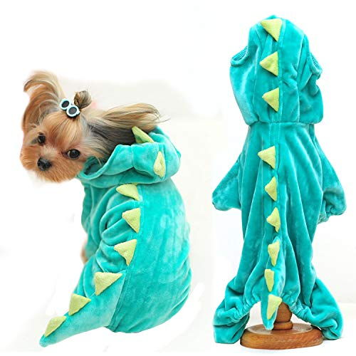 Halloween Costume for Pet Dog Cat Dinosaur Plush Hoodies Animal Fleece Jacket Coat Warm Outfits Clothes for Small Medium Dogs Cats Halloween Cosplay Apparel Accessories (Large, Green)