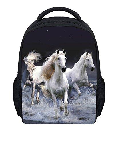 Wrail Unisex-Kinder Rucksack 3D-Druck Kindergartentasche Schulrucksack Schultasche Kindergarten Rucksack mit Tiermotiv Pferd Weiß 24x10x30cm