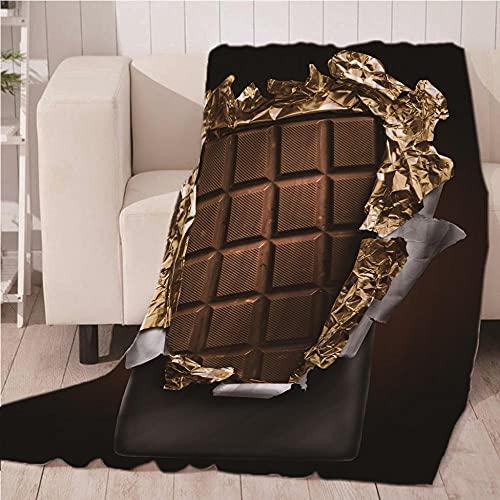 Mantas para Sofa De Franela 3D Chocolate Manta con Estampados para niños Adultos Manta de Microfibra Suave cálida para Cama sofá y Viaje 100x130cm
