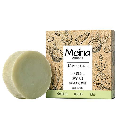Meina - Haarseife Naturkosmetik - Bio Shampoo Bar mit Kokosmilch, Aloe Vera und Tulsi (1 x 80 g) palmölfrei, vegan, festes Shampoo für trockenes Haar, Shampooseife für Männer und Frauen