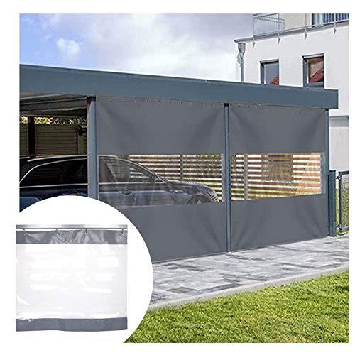 MTYLX Large Heavy Duty Tarpaulin Clear Rainproof,Washing Workshop Waterproof Tarp, 0.5Mm PVC Rain and Sun Shade, for Car/Door Curtain,Gray,4X2.8M