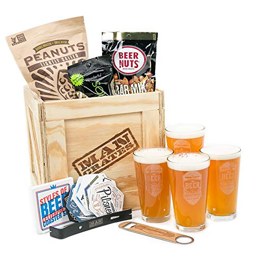 Personalized Barware Crate – Includes 4 Laser-Etched Pint Glasses, Personalized Wood and Steel Bottle Opener, Letterpress'Styles of Beer' Coasters – Great Gifts for Men