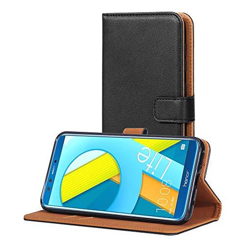 AICEK Hülle Kompatibel mit Honor 9 Lite, Lederhülle für Huawei Honor 9 Lite Schutzhülle PU Leder Klapphülle mit Kartenfach Ständer Magnet Funktion Schwarz (5,65 Zoll)