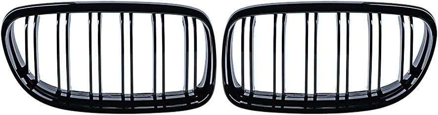 1 Outlet ☆ Free Shipping Pair Glossy Black Front Kidney Line Sale w Grille Compatible Double