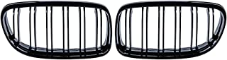 1 Pair Glossy Black Front Kidney Grille Double Line Compatible with 2009-2011 E90 E91 323i 325i 328i 330i 335i 4-Door