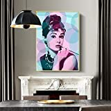 NIMCG Audrey Hepburn Retrato Maquillaje Cartel en Lienzo Arte de la Pared Imagen de Pared Modular para la decoración de la Sala de Estar (Sin Marco) R2 40x50CM