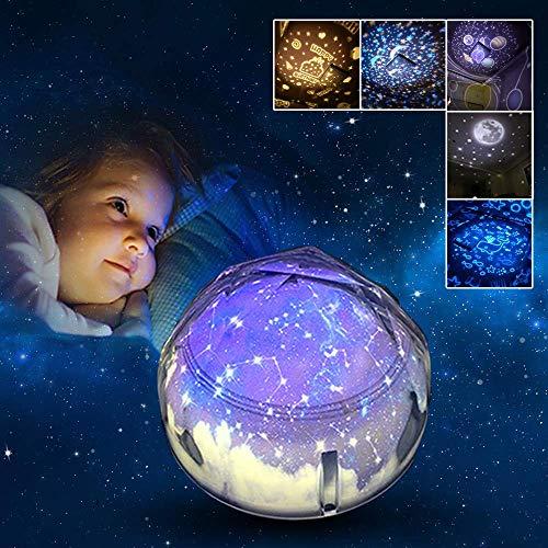 HaavPoois Estrella Proyector de Luz Nocturna para Niños, Luz Nocturna USB Lámpara de Proyección 3 Estrellas Regulable, Colorida y Romántica Cielo Estrellado para Iluminación Infantil (Blanco)