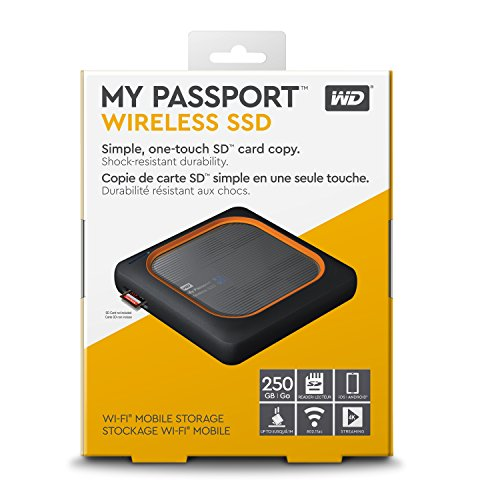 WD 250GB My Passport Wireless SSD External Portable Drive - WiFi USB 3.0 - WDBAMJ2500AGY-NESN
