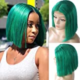 Smartinnov Lace Front Wig Virgin Human Hair Bob Green Pre Plucked Middle Part Straight 14inch Short Cut 180% Density 13x4 Lace Frontal Bleached Knots with Baby Hair Green Color for Women
