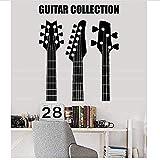 Pegatinas de pared, Guitarra Colección Tienda Instrumento musical Calcomanía de Navidad PVC Vinilo Salón Dormitorio Hogar Ventana Baño Oficina Dormitorio Tienda Decoración 57x69cm
