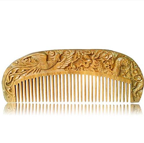 Handmade Carved Natural Sandalwood Hair Comb - Anti-Static Sandalwood Hair Comb Beard Brush Rake Comb Handmade Engraving Dragon and Phoenix
