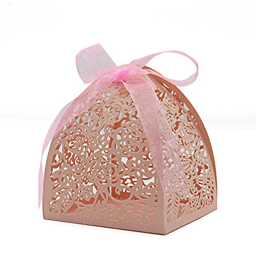"KEIVA Pack of 70 Laser Cut Rose Candy Boxes, Favor Boxes 2.5""x 2.5""x 3.1"", Gift Boxes Bridal Shower Anniverary Birthday Party Wedding Favor (Pink)"