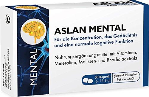 Aslan Mental (30 Kapseln) Nahrungsergänzung mit Rhodiola Rosea- und Melissen-Extrakt, Vitaminen und Mineralien für geistige Leistungsfähigkeit und Konzentration