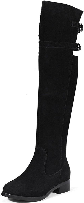 Nine Seven Suede Leather Women's Round Toe Chunky Heel Comfort Buckles Handmade Knee High Boots