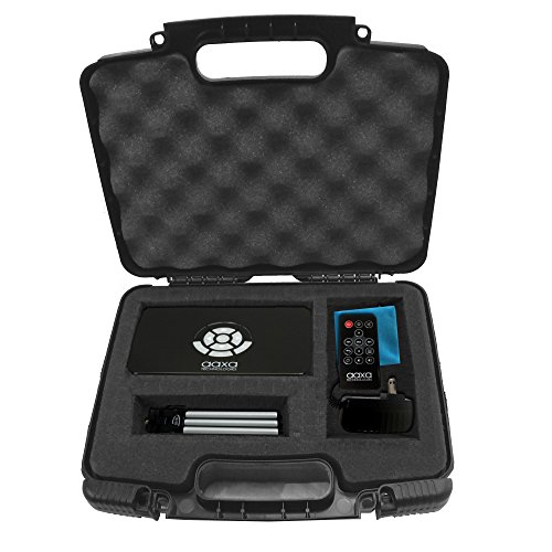 Casematix Portable Hard Travel Case with Diced Foam fits AAXA P7 Pico Projector, P300, P4X, Ivation, Philips, Brookstone Projectors, Mini Tripod, Charger, and Small Accessories