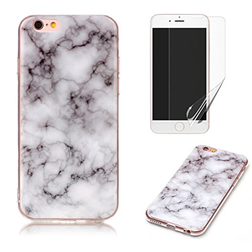 For iphone 4/iphone 4S Marble Case with Screen Protector ,OYIME Creative Glossy Gray Marble Pattern Design Protective Bumper Soft Silicone Slim Thin Rubber Luxury Shockproof Cover