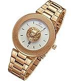 LLM - Orologio al quarzo da uomo, alla moda, sportivo, con cinturino in acciaio inox, impermeabile, colore: oro rosa 2