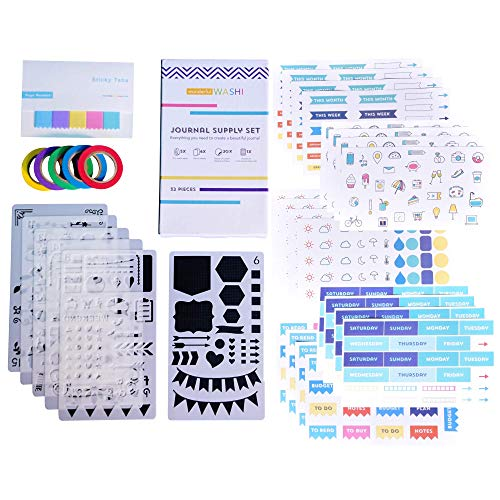 Perfect Planner Journal Supplies Kit - 32 Piece Set, Custom-Designed Supplies for Bullet Dot Journals and Planners, Includes Stickers, Stencils, Washi Tapes and Sticky Notes, by Wonderful Washi