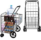 UPGRADED XL Double Basket Shopping Cart with Wheels, Metal Grocery Cart with Wheels, Shopping Cart for Groceries, Folding Cart for Convenient Storage and Holds Up to 220lbs, Dual Swivel Wheels and Extra Basket, Black