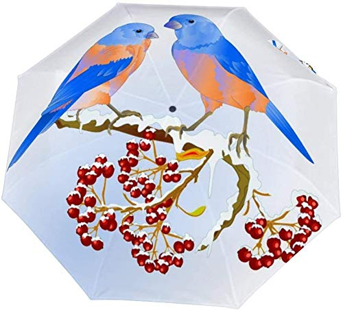 Paraguas manual de tres pliegues Aves Azulejos Zorzal Pequeño Songbirdon Nano Paraguas plegable de gran diámetro Protector solar que cubre el sol y la lluvia-Manual