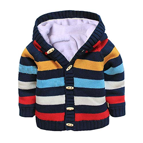 Baby Toddler Boys Girls Striped Long Sleeve Sweaters Cardigan Warm Outerwear Jacket Dark Blue