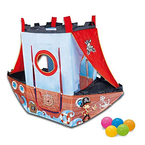 OPNIGHDYMD Pirate Ship Tent & Outdoor Childrens Playhouse Ball Pit Play Tent - 24 Balls Included