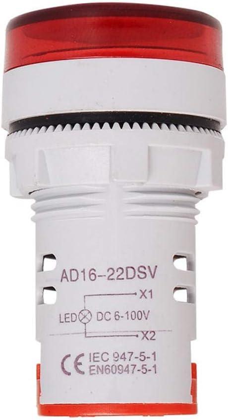 BYHSMMSD DIY 10pcs Red ST16VD 22mm Hole Sizing 6-100 VDC Digital