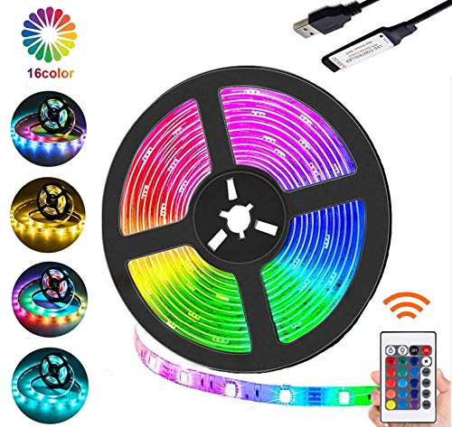 AMZSTAR Indoor LED Strip Lights, Multicolor LED Light Waterproof Flexible Rope Light Remote Control Colors Changing Atmosphere Lights for Bedroom, Kitchen, TV, Room and Party Decoration (16.4)