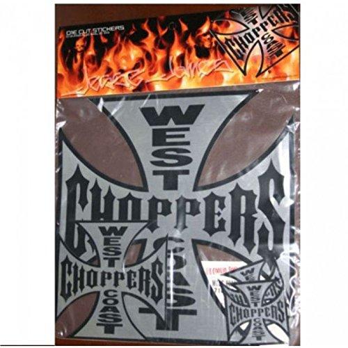 hotrodspirit - lot 5 Sticker West Coast Choppers Croix Malte 32 16 8 cm