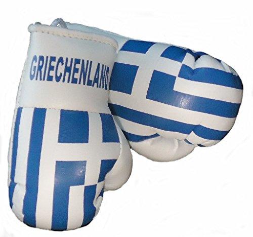 Sportfanshop24 Mini Boxhandschuhe GRIECHENLAND, 1 Paar (2 Stück) Miniboxhandschuhe z. B. für Auto-Innenspiegel