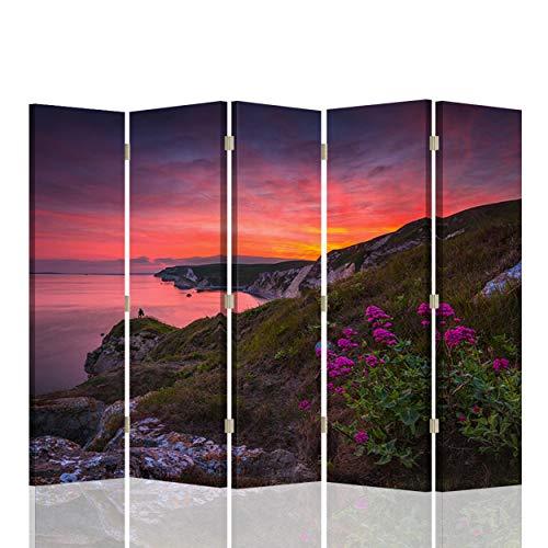 Foto Biombo Paisaje 5 Paneles Unilateral Flores Atardecer Multi 180x17