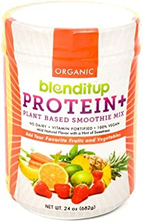 Organic Vegan Protein Powder - Plant Based Unflavored Smoothie Mix - Meal Replacement - Non Dairy, Gluten Free, Kosher, Non-GMO with Soy Protein Isolate - 24 Oz by BlendItUp