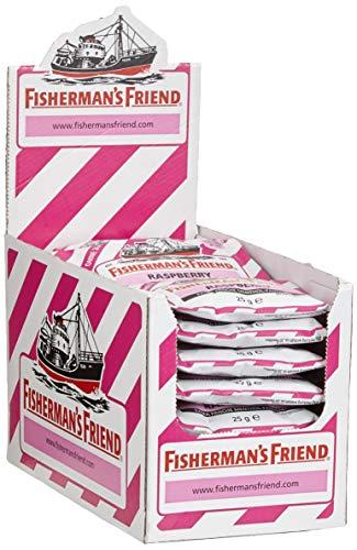 Fisherman's Friend Raspberry | Karton mit 24 Beuteln | Himbeere und Menthol Geschmack | Zuckerfrei für frischen Atem