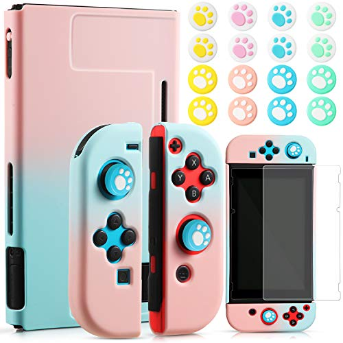 3 in 1 Dockable Case Silicone Protective Case Paw Thumb Grip Caps with Screen Protector Compatible with Nintendo Switch, Joy-Con Controllers