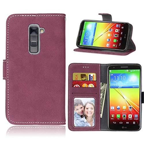 Ycloud Geldbörse Hülle für LG G2 Smartphone, Matt Textur PU Leder Magnetisch Flip Handyhülle mit Standfunktion Kartenfächer Entwurf (Rosenrot)