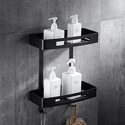 Homeself SUS304 - Mensola da bagno in acciaio inox, portaoggetti da muro per doccia, supporto da parete per bagno e cucina, 2 ripiani