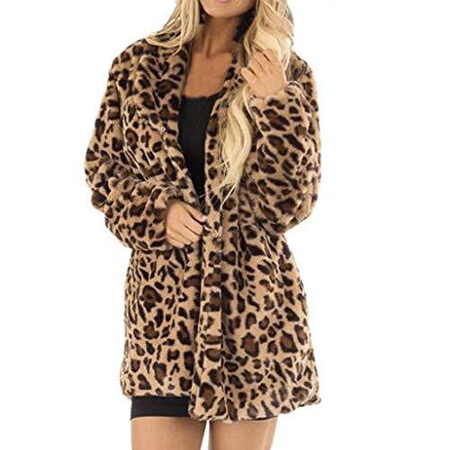 Luckycat Mujer Liquidación de la Venta de Las Espesa cálido Invierno Manga Larga Sudadera con Capucha Damas Estampado de Leopardo cárdigans Jersey Puente de la Chaqueta de Cuello abatible