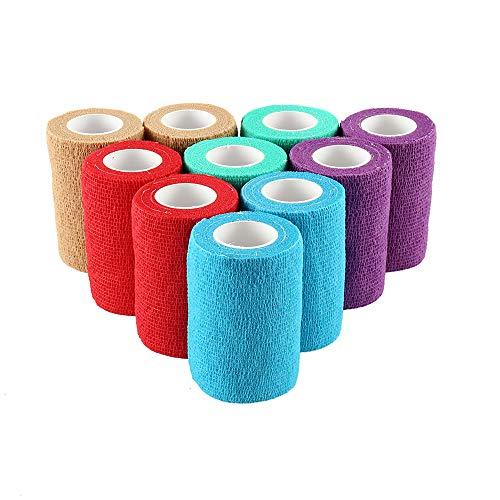 Dandelionsky 10 Rollos de Vendaje autoadherente, Vendaje elástico Adhesivo para Primeros Auxilios de Mascotas, Vendajes para muñecas, esguinces de Tobillo y hinchazón