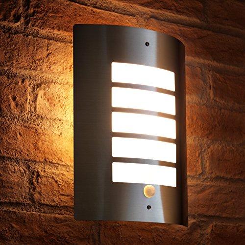 Auraglow Luz de pared Plata Acero inoxidable Diseño 'Grill' con PIR sensor - 1 x LED Bombilla (Blanco cálido) 5W Incluido