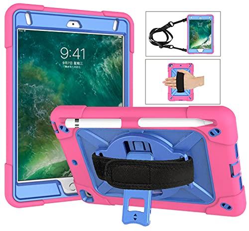 QYiD Funda para iPad Mini 5a/4a Generación, Funda a Prueba de Golpes Protectora con [Protector de Pantalla] [Porta Lápices] [Hombro de Correa de Mano] [Soporte Giratorio de 360°], Rosa/Azul