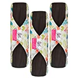 Sanitary Reusable Cloth Menstrual Pads by Heart Felt. XL Cloth - 3 Pack Washable Sanitary Napkins with Charcoal Absorbency Layer - Overnight Long Panty Liners for Comfort and Support