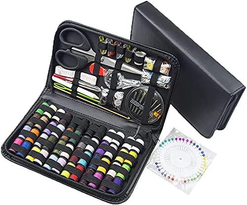 Kit de costura de 172 piezas, mini kit de costura portátil para principiantes, viajeros y accesorios de ropa de emergencia, suministros de costura y accesorios de costura