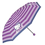 Paraguas Hello Kitty de Niña - Mini Paraguas con Rayas - Plegable Ligero Compacto y Antiviento - 8+ Años - 97 cm de diámetro - Perletti (Morado)