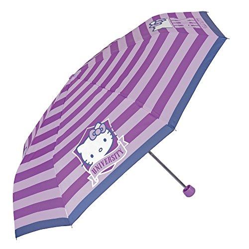 Hello Kitty Kinder Schirm - Taschenschirm für Mädchen - Leichter Kompakter und Windfester Regenschirm - Durchmesser 97 cm - Perletti - Violett
