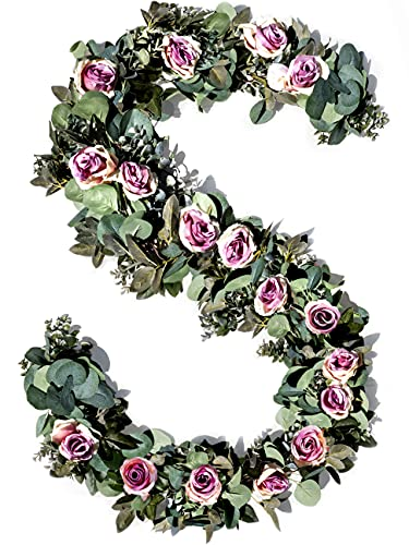 Eucalyptus Garland with Flowers - 17 Pink Roses - Lush, Natural Looking Eucalyptus and Flower Garland Decor, Floral Garland Greenery for Wedding Table Decor with Abundant Vines, Rose Leaves
