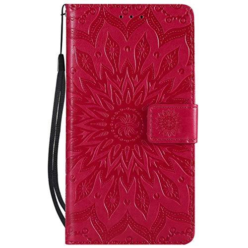 KKEIKO Hülle für Galaxy J4 2018, PU Leder Brieftasche Schutzhülle Klapphülle, Sun Blumen Design Stoßfest HandyHülle für Samsung Galaxy J4 2018 - Rot