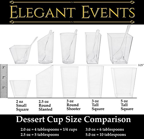 Impirilux 5 oz Dessert Cups with Spoons | Pack of 50 Tall Square Plastic Dessert Cups + 50 Spoons (50)