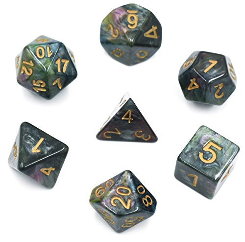 HDdais Polyhedral 7-Die Dice Set Colourful DND Gaming Dice for Dungeons and Dragons Tabletop Roleyplaying & DND Games
