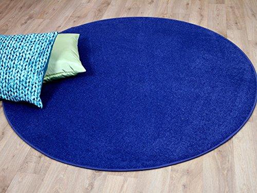 Joy Trend Velour Teppich Blau Rund in 7 Größen
