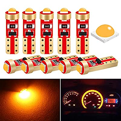 DuaBhoi T5 LED Bulb Dash Lights 37 74 3030Chipsets for Car Motorcycle Truck Dashboard Instrument Cluster Gauge Panel Indicator Air Conditioning Light Lamp 10PCS No Polarity